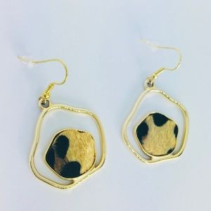 New! Leopard Print Fur Dangle Earrings Gold